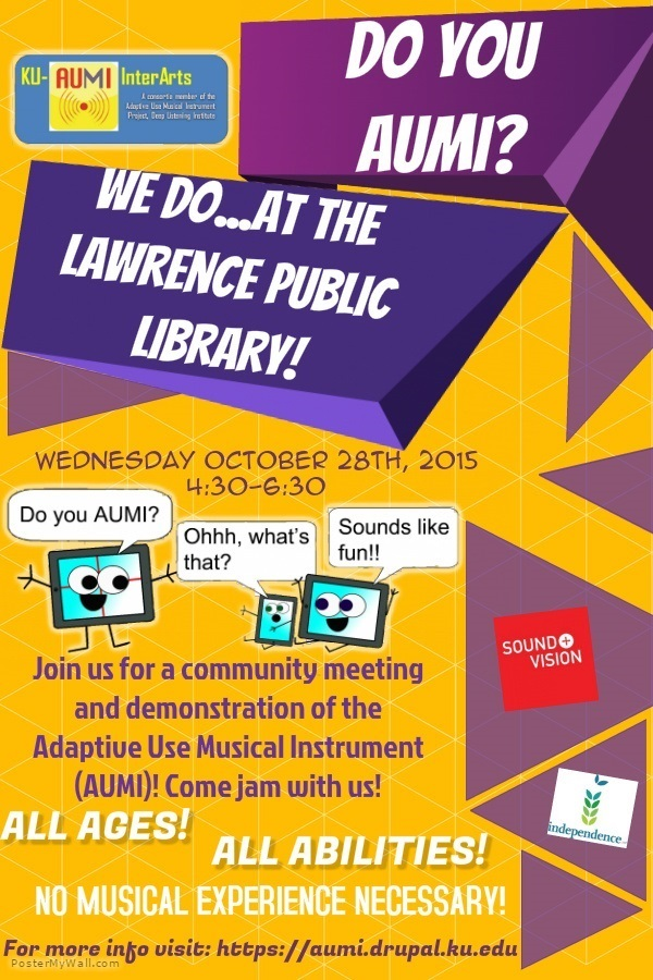 Lawrence Public Library Jam Session and Meeting, 4:30-6:30 PM, October 28, 2015, Meeting Room C