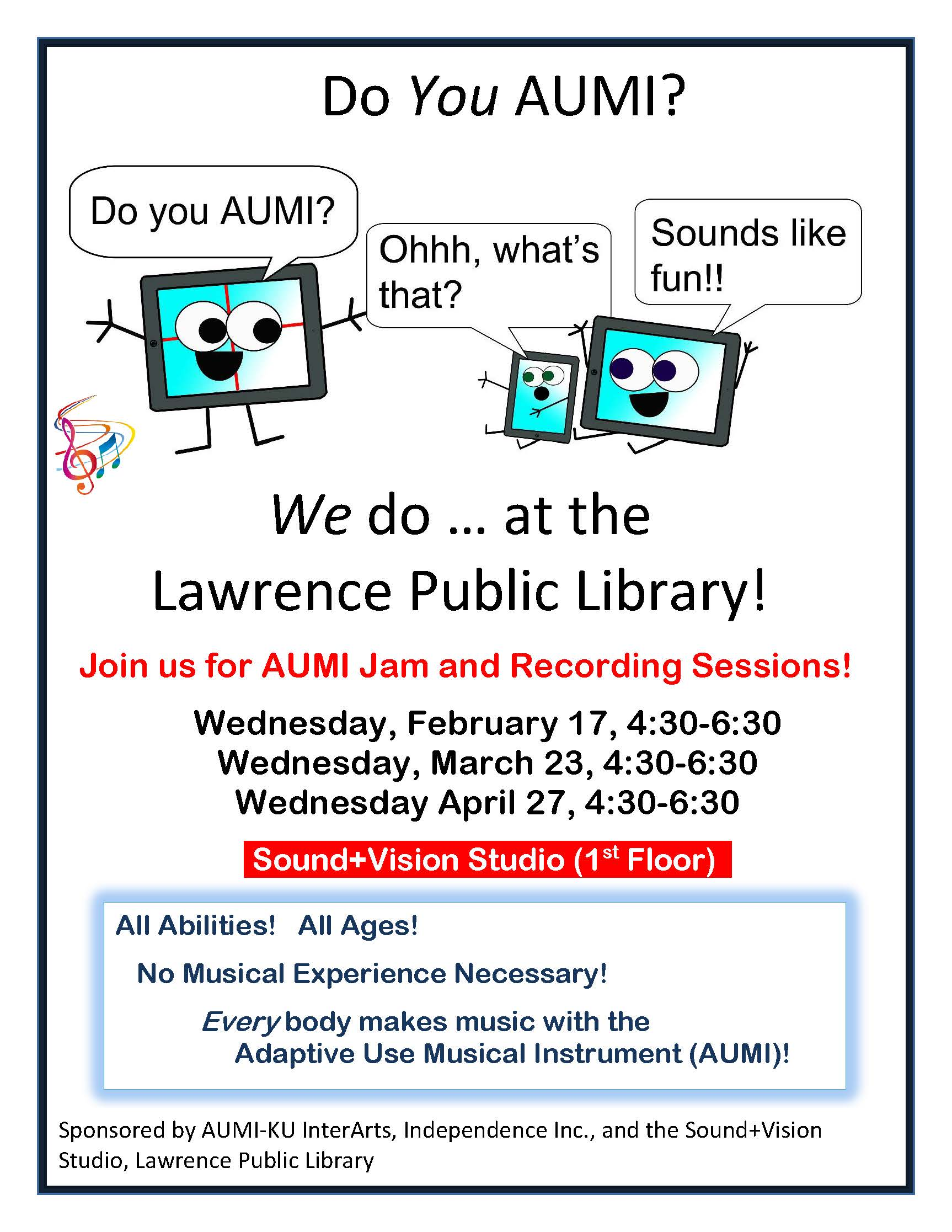 Join us for free community jam and recording sessions at the Lawrence Public Library on February 17, March 23, and April 27, 4:30-6:30 pm! In the Sound+Vision Lab, 1st floor. All abilities. All Ages. No musical experience necessary!